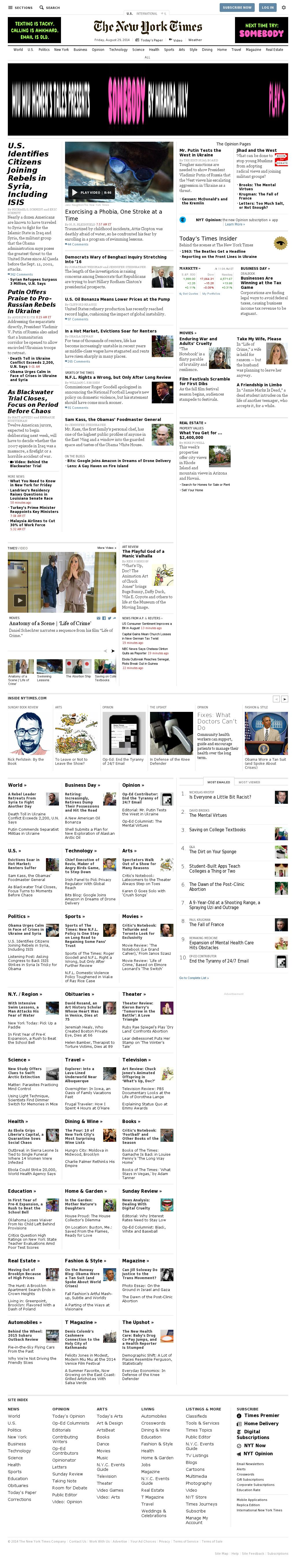 The New York Times at Friday Aug. 29, 2014, 3:11 p.m. UTC